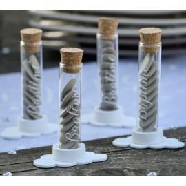 Eprouvette à dragées baptême en verre 10 cm les 4