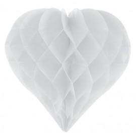 Coeur en papier alvéolé blanc 29 cm les 2