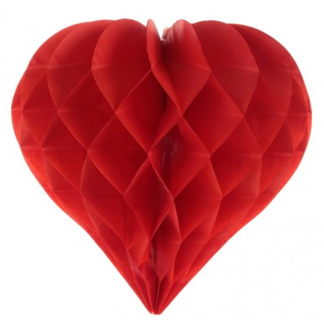 Coeur en papier alvéolé rouge 29 cm les 2
