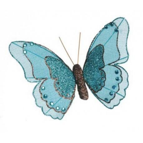 Papillon turquoise pailleté sur pince les 2