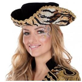 Chapeau tricorne tigré femme