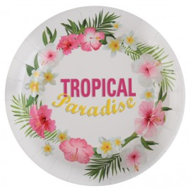 Assiette carton tropical paradise 22.5 cm les 10