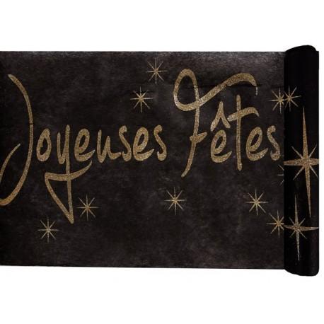 Chemin de table joyeuses fêtes noir et or 5 M