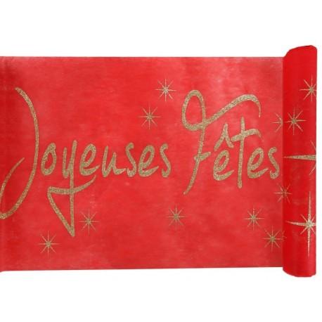 Chemin de table joyeuses fêtes rouge et or 5 M