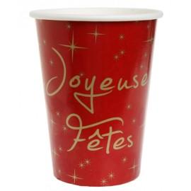 Gobelet carton joyeuses fêtes rouge et or les 10