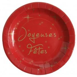 Assiette carton joyeuses fêtes rouge et or 22.5 cm les 10