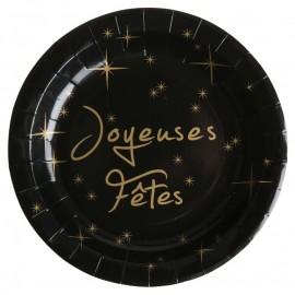 Assiette carton Joyeuses Fêtes noire et or 22.5 cm les 10
