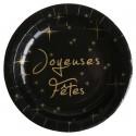 Assiettes carton Joyeuses Fêtes noires et or 22.5 cm les 10