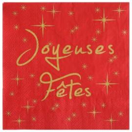 Serviette de table joyeuses fêtes papier rouge les 20