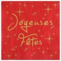 Serviettes de table joyeuses fêtes papier rouge les 20