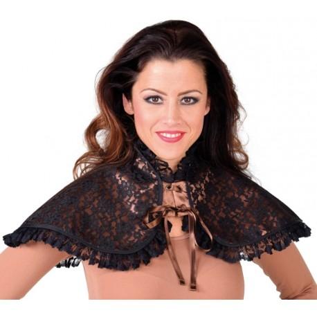 Faux col brun à dentelle noire femme luxe