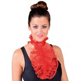 Jabot à dentelle rouge femme luxe