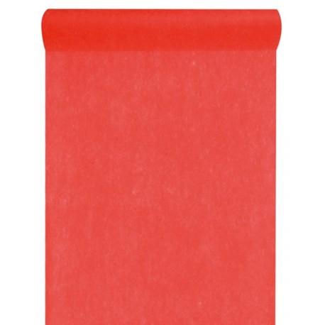 Chemin de table intissé rouge 25 M