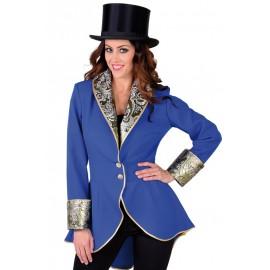 Déguisement manteau bleu de cobalt femme luxe