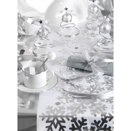 Chemin de table flocon de neige argent