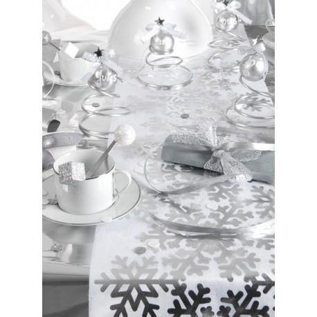 chemin de table flocon de neige argent blanc chemin de table flocons. Black Bedroom Furniture Sets. Home Design Ideas