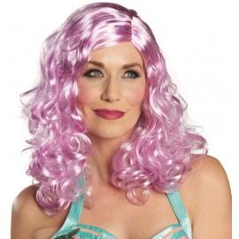 Perruque longue violette femme luxe