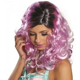 Perruque longue violette et noire femme luxe