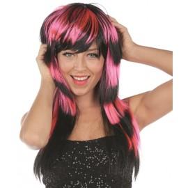 Perruque longue rose et noire femme luxe