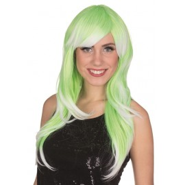 Perruque verte et blanche femme luxe