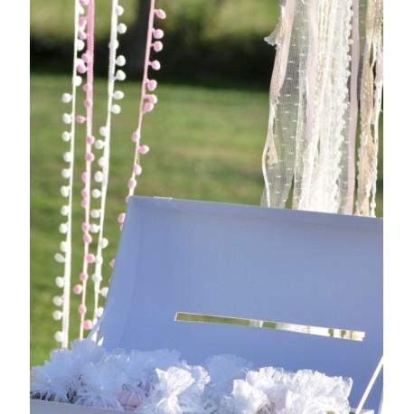Guirlande de mini pompons blancs 200 cm