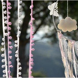 Guirlande de mini Pompons roses 200 cm