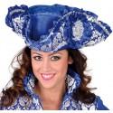 Chapeau Tricorne royale brocart bleu cobalt adulte luxe