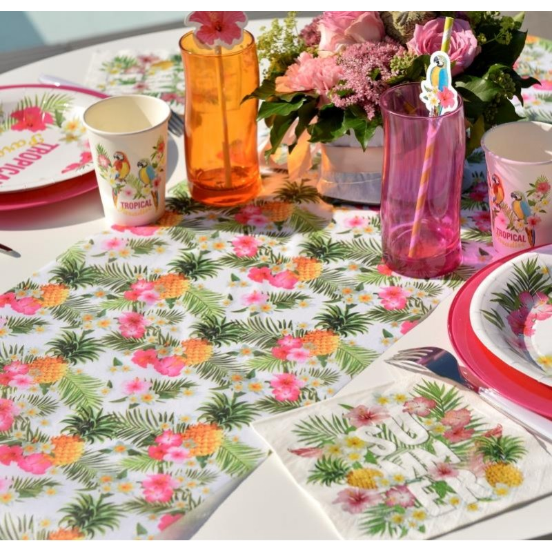 Chemin de table tropical intiss 5 m chemin de table hawa - Set de table intisse ...