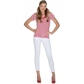 Déguisement T-Shirt rayé rouge blanc femme