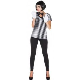 Déguisement T-Shirt rayé noir blanc femme