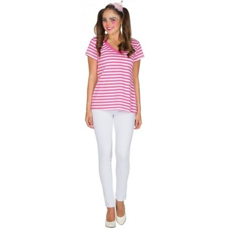 Déguisement T-Shirt rayé fuchsia blanc femme