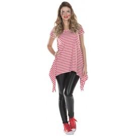 Déguisement T-Shirt long rayé rouge blanc femme