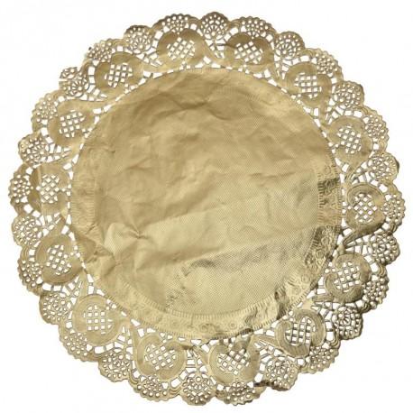 Napperon dentelle papier or 35 cm les 10