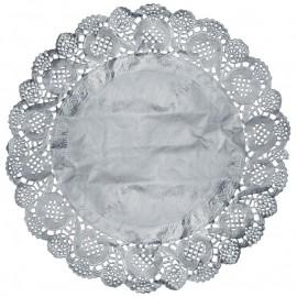 Napperon dentelle papier argent 35 cm les 10