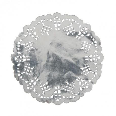 Napperon dentelle papier argent 10 cm les 10