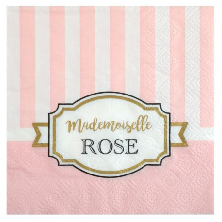 Petite serviette de table Baby shower rose papier les 20