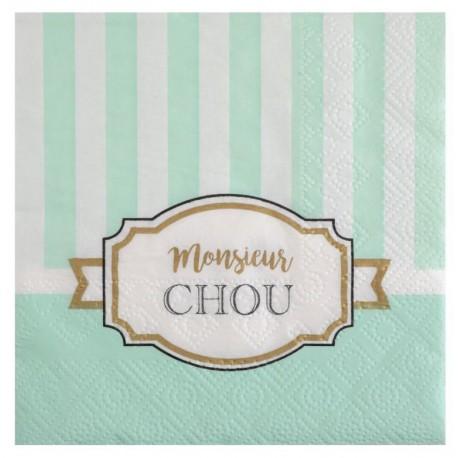 Petite serviette de table Baby shower vert papier les 20