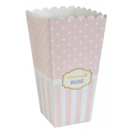 Boîte à pop corn Baby shower rose les 8
