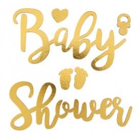 Baby shower autocollant or en bois