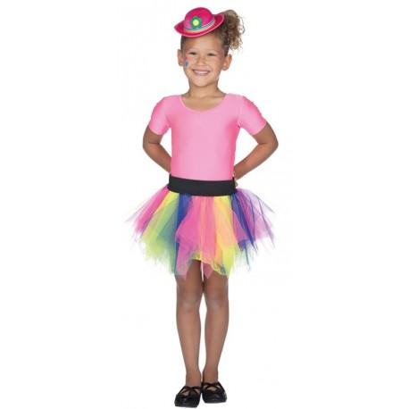 Déguisement jupe tulle multicolore fille