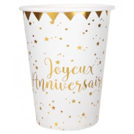 Gobelet carton Joyeux anniversaire or les 10