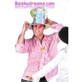 Déguisement chemise disco rose homme
