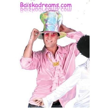 Deguisement chemise disco rose adulte
