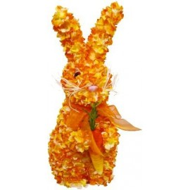Lapin décoratif orange 30 cm