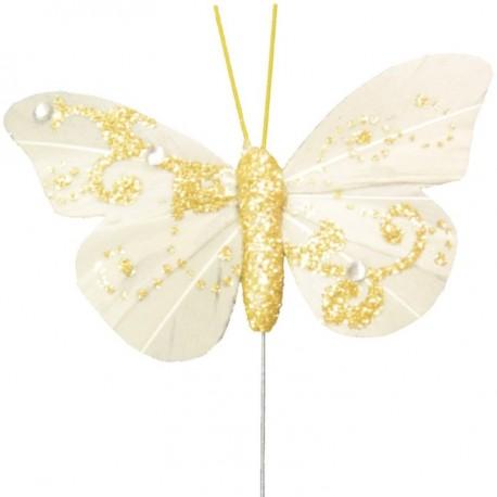 Papillon plume ivoire pailleté sur tige les 6