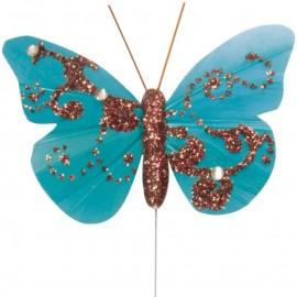 Papillon plume turquoise pailleté sur tige les 6