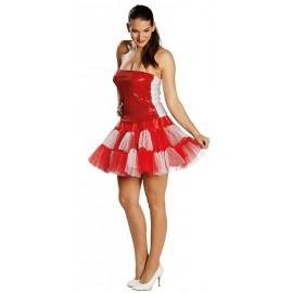 Déguisement jupe tulle rouge blanc femme