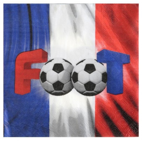 Serviette de table Champion du monde Foot papier les 20