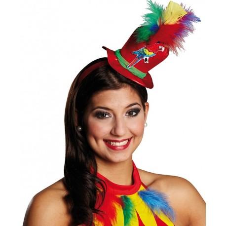 Mini chapeau haut de forme perroquet femme