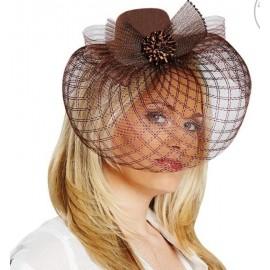 Chapeau Bibi brun à voilette femme